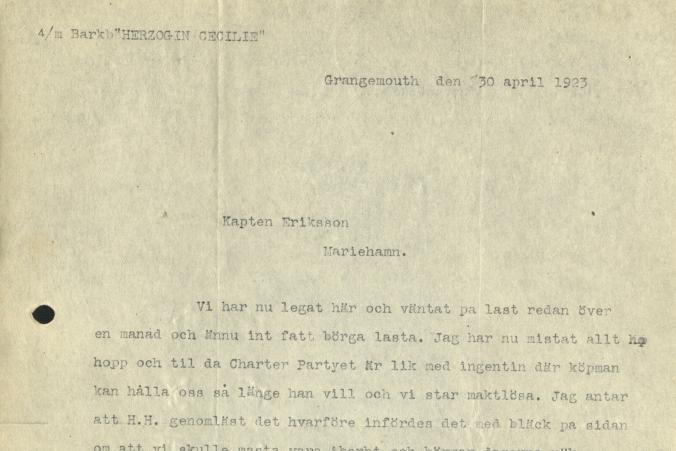 Brev från Herzogin Cecilies kapten Ruben de Cloux till Gustaf Erikson den 30.4.1923, s. 1/2.