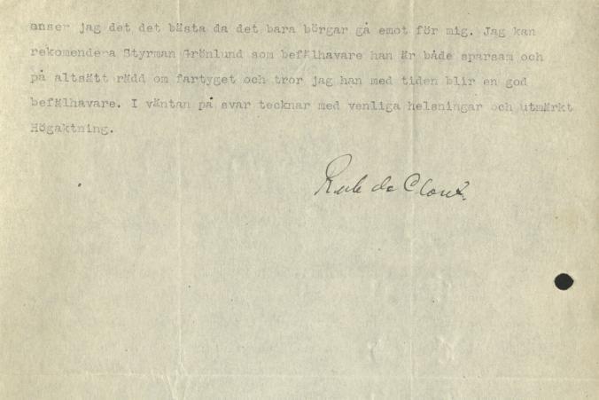 Brev från Herzogin Cecilies kapten Ruben de Cloux till Gustaf Erikson den 30.4.1923, s. 2/2.