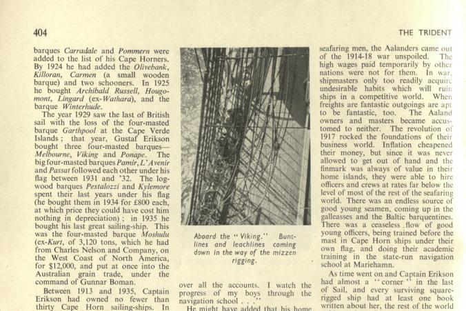 """Nekrolog om Gustaf Erikson i tidskriften """"The Trident"""" fortsätter, s. 3/4."""