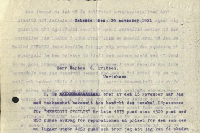 Kapten Ruben de Cloux rekommenderade anskaffandet av Herzogin Cecilie till G. Erikson i ett brev daterade den 20.11.1921, s. 1/2