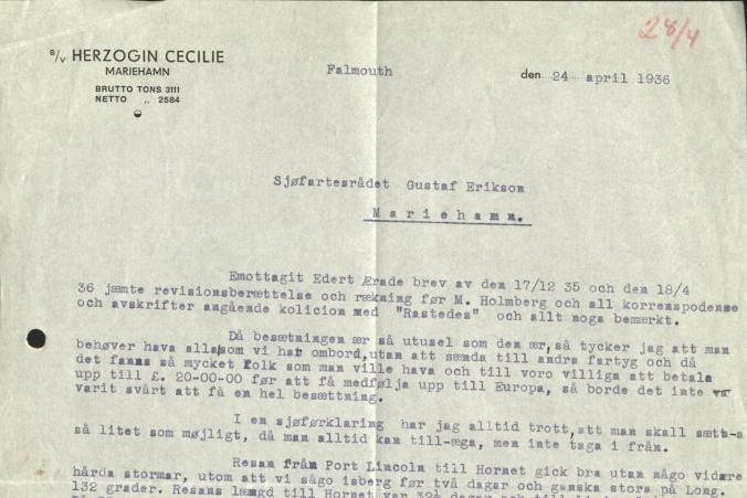 Kapten Eriksson beskriver den snabba resan på 86 dagar från Port Lincoln till Falmouth i sitt brev den 24.4.1936.