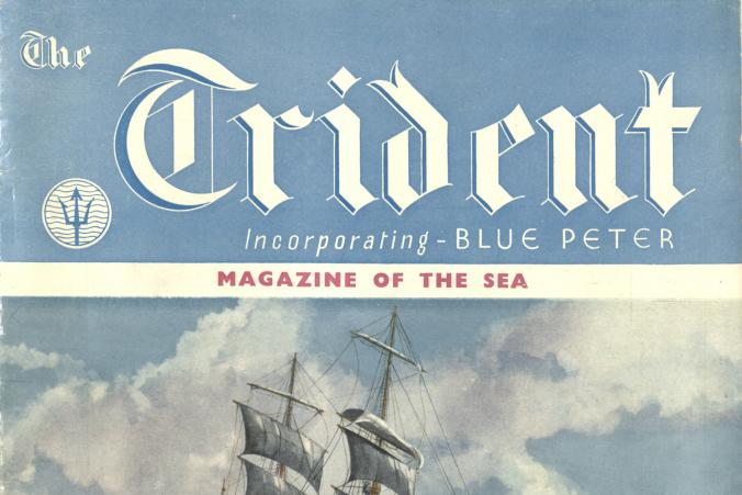 "The cover of the magazine ""The Trident"", Vol. 9, Nr. 102, October 1947 with illustration of barque Killoran."