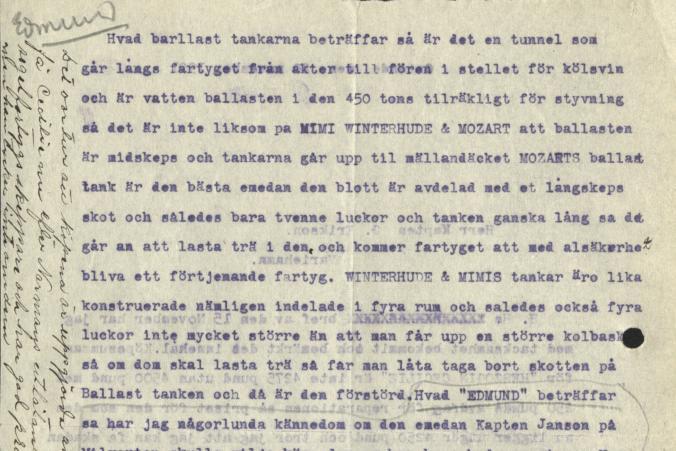 Brevet från kapten de Cloux till Gustaf Erikson den 20.11.1921 fortsätter, s. 2/2