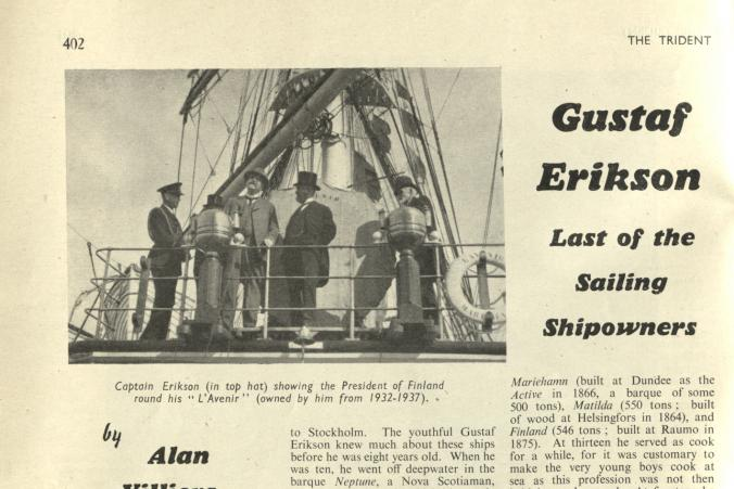 "Gustaf Erikson's obituary in ""The Trident"", Vol. 9, Nr. 102, October 1947. p. 1/4"