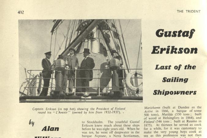 """Nekrolog om Gustaf Erikson i tidskriften """"The Trident"""", vol. 9, nr. 102, oktober 1947, s. 1/4."""