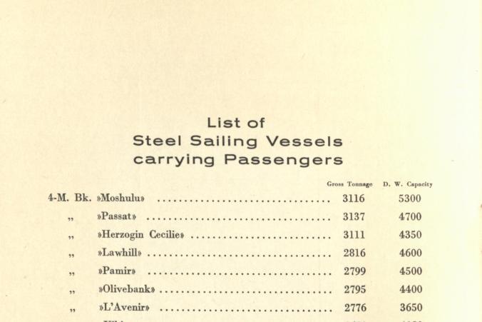 I broschuren finns en förteckning över de fartyg som tog passagerare.