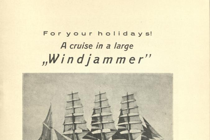 The travel broschure advertises cruises on Gustaf Erikson's vessels.