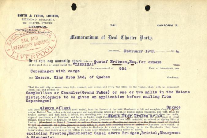 Certeparti mellan Gustaf Erikson och Messrs. King Bros Ltd. of Quebec över befraktning av timmer den 19.2.1914.