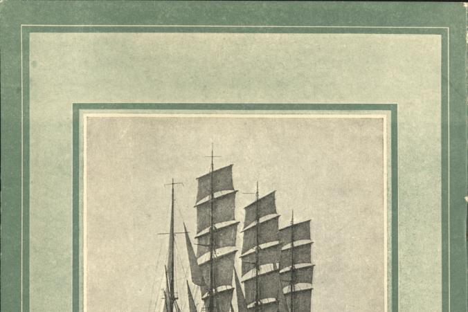 """Baksidan av resebroschyren """"The Large Sailing Ships Owned by Captain Gustaf Erikson""""."""