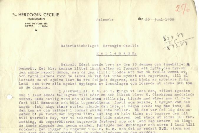 Den 19.6.1936 bogserades Herzogin Cecilie till Starhole Bay. Kapten Eriksson skriver om insatserna för att rädda lasten.