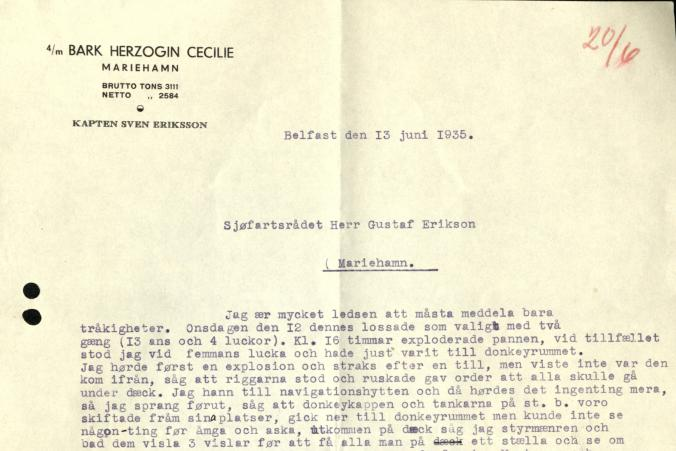 A letter from Capt. Eriksson. The ship's donkey boiler exploded on June 12, 1935, killing two crewmen. P. 1/2