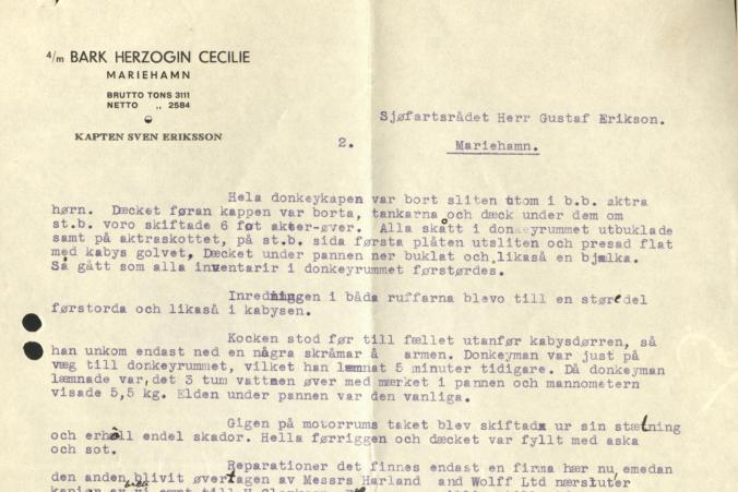 Kapten Erikssons redogörelse över skadorna den 12.6.1935 fortsätter, s. 2/2.