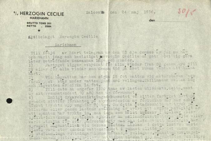 Nästa dag, den 25.4, strandade Herzogin Cecilie på väg till Ipswitch. Kapten Sjögren från barken Passat beskriver skadorna.