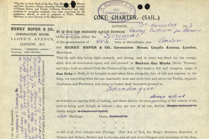 Certeparti mellan Gustaf Erikson och Henry Roper & Co. över befraktning av koks på skeppet Tjerimai den 24.11.1913.