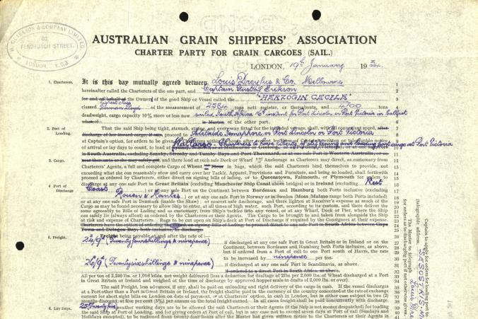Certeparti över befraktning av vete på skeppet Herzogin Cecilie den 19.1.1934.