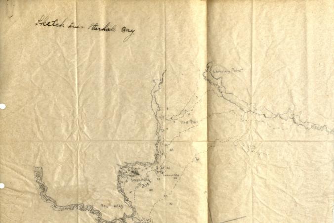 Kapten Erikssons skiss över Starhole Bay dit Herzogin Cecilie bogserades i juni 1936 och slutligen sjönk.