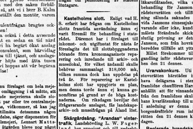 Artikel i Tidningen Åland den 19.10.1929.