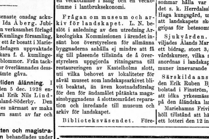 Artikel i Tidningen Åland den 26.1.1929.