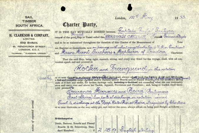 Certeparti över befraktning av timmer på Herzogin Cecilie den 12.5.1933.