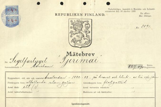 Mätebrev för Tjerimai den 18.10.1921.