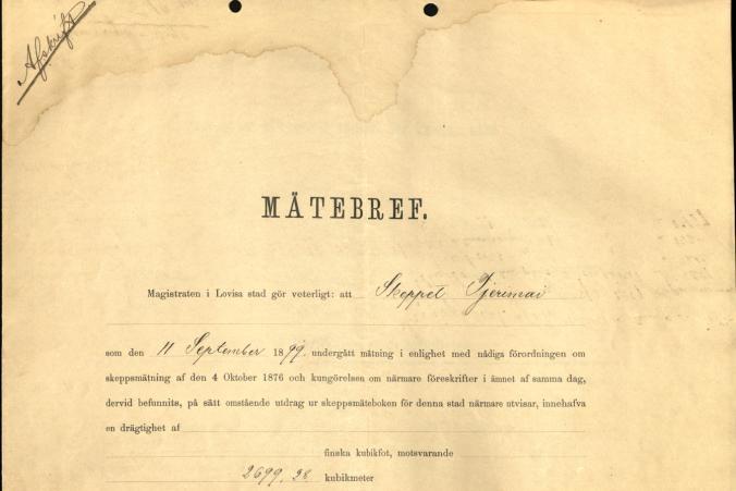 Measurement certificate for Tjerimai, dated September 23, 1899. p. 1/2.