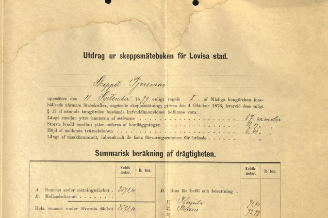 Measurement certificate for Tjerimai, dated September 23, 1899. p. 2/2.