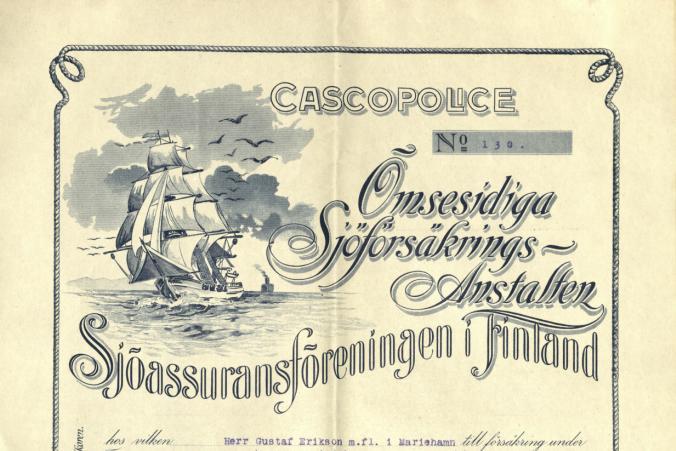 Försäkringsbrev för barkskeppet Tjerimai daterad den 15.12.1915.