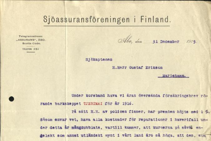 Brev från Sjöassuransföreningen i Finland till Gustaf Erikson daterad den 31.12.1915, s. 1/2.