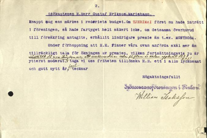 Brev från Sjöassuransföreningen i Finland till Gustaf Erikson daterad den 31.12.1915, s. 2/2.