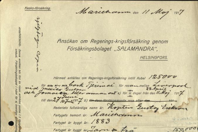 """Ansökan om Regerings-krigsförsäkring genom Försäkringsbolaget """"Salamandra"""" den 11.5.1917."""