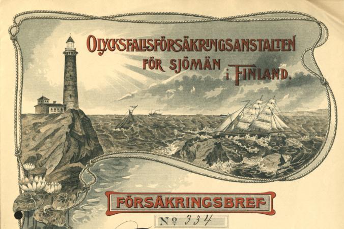 """Försäkringsbrev """"för de till besättningen å barkskeppet Tjerimai hörande personer"""" daterad den 22.1.1914."""